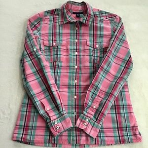 Tommy Hilfiger Pink Plaid Button Cotton Shirt Top